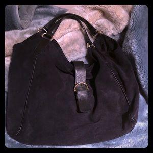 Zara large suede Hobo bag NAVY